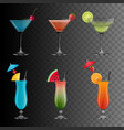 set cocktails vector image vector image