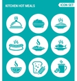 set of round icons white Kitchen hot meals dish vector image vector image