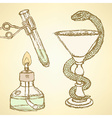 Sketch chemical set in vintage style vector image vector image