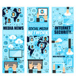 social mass media and internet security vector image vector image