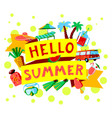 summer beach cartoon banner with hello summer vector image vector image