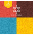 Thin Line Rosh Hashanah Holiday Patterns Set vector image