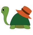 turtle with hat hand drawn design on white vector image vector image