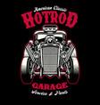 vintage shirt design hotrod car with big engine vector image vector image