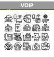 voip calling system collection icons set vector image vector image