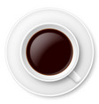 white mug of coffee and saucer on white vector image vector image