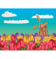 Windmill and Tulips3 vector image vector image