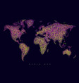 world map tangle lines violet vector image