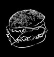 big burger on black vector image