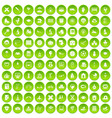 100 kids icons set green circle vector image vector image