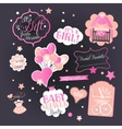 Baby Girl Shower Set with greeting design vector image