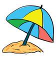 beach umbrella hand drawn design on white vector image