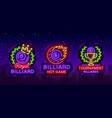 billiards collection logos neon style neon vector image