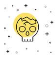 black line broken human skull icon isolated on vector image vector image