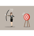 Blindfold business woman look for target in wrong vector image