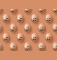 brown realistic easter eggs emoji smile on yellow vector image