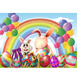 Bunnies and colorful eggs near the rainbow and vector image vector image