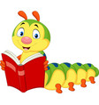 cartoon caterpillar reading book vector image