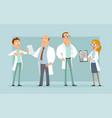 cartoon flat hospital doctor characters set vector image vector image