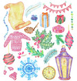 christmas and new year watercolor set with lantern vector image vector image