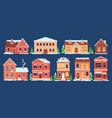 christmas houses buildings with snow caps vector image vector image