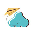 cloud computing with airplane paper vector image