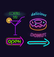 cocktails bar and donut set vector image vector image