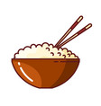 colored picture rice in a clay bowl with vector image vector image