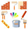 colorful cartoon 9 wall recoloring elements set vector image