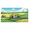 countryside landscape organic farm field sketch vector image