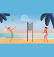 couple active people play beach volleyball throw vector image vector image