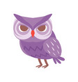 cute cartoon purple owlet bird character vector image