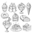 Desserts and cakes for bakery sketch icons