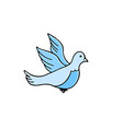 dove pigeon doodle icon on white background vector image vector image