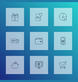 e-commerce icons line style set with buy online vector image