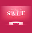 empty podium with valentines day sale vector image vector image