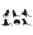 fancy rats silhouettes set vector image vector image