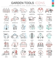 Garden tools ultra modern color outline vector image