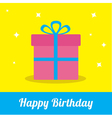Gift box ribbon and bow with sparkles Birthday vector image vector image