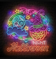 glow halloween greeting card with witch pumpkin vector image