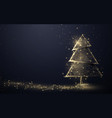 gold christmas tree and sparkling lights garland vector image