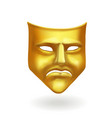 gold theatrical sad mask tragedy icon symbol vector image