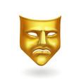 gold theatrical sad mask tragedy icon symbol vector image