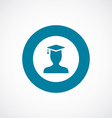 graduate student icon bold blue circle border vector image