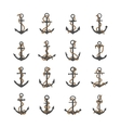 Gray silhouettes of anchor with rope vector image