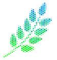 halftone blue-green leaf branch icon vector image vector image