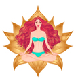 Hand drawn of woman sitting in lotus pose yoga vector image vector image