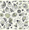 hand drawn seamless pattern with oysters vector image vector image
