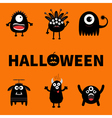 Happy Halloween card Text with pumpkin Black vector image