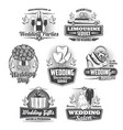 marriage service wedding ceremony isolated icons vector image vector image